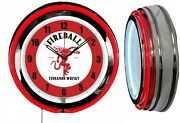 Fireball Cinnamon Whiskey Red Hot 19 Red Double Neon Clock Man Cave Bar