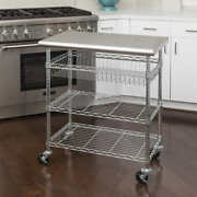 Seville Classics, Stainless Steel Rolling Locking Kitchen Cart, Prep Work Table