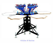 Double Rotary 6 Color 6 Station Silk Screen Printing Machine Press Printer