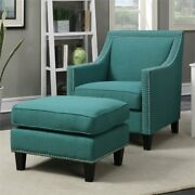Bowery Hill Fabric Upholstered Accent Chair With Ottoman In Teal
