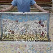 Yilong 2.5'x4' Handknotted Silk Carpet Hunting Animal Scenery Area Rug Z430a