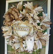 Baby Owl Fall Wreath, Welcome Rustic Pumpkin, Thanksgiving Halloween Decorations