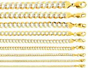 14k Solid Yellow Gold Diamond Cut Cuban Link Chains Menand039s/womenand039s 2mm-11mm16-30