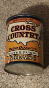 Antique Rare 1930and039s Sears Roebuck And Co. Cross Country One Pound Grease Oil Can