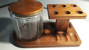 Brown Wood Glass Container Decatur Industries Deco Walnut Tobacco Pipe Stand