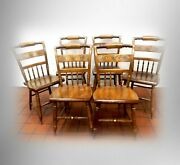 Hitchcock Furniture Set Of Six Maple Chairs - Gold Floral Leaf Designs