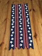 Pier 1 Red White Blue Glass Bead Table Runner Nwt Americana Patriotic July 4