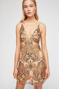 Free People Nude Night Shimmers Mini Sequin Dress Camel Gold Us 4 Uk 8 Small New