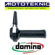 Domino Ghepard Chrome Throttle With Black Grips To Fit Velocette Bikes