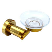 Gold Clour Bathroom Brass And Glass Soap Holder Soap Dishes Round Design