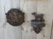 2 Vintage Wolf Moose Wood Hand Crafted Carved Shelf Plaque Primitive Wall