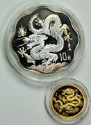 2000 China Year Of The Dragon 2 Coin Set Gold And Silver Itemt12188