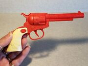 Vintage Toy Gun Plastic Indian Chief Head On Handle Red Ivory Works Without Caps