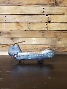 Vintage Wind Up Piasecki Us Air Force Navy Litho Helicopter Tin Toy Spins