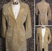 Suzanne Somers Leather Trench Coat Duster Size Medium
