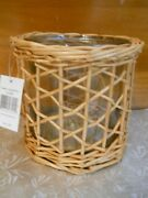 Nwt Yankee Candle Wicker Cane With Glass Insert Jar Holder