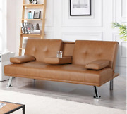 Futon Sofa Bed Leather Modern Recliner Sleeper Tv Theater Couch Furniture Tan