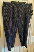 Zac And Rachel Woman Tummy Taper Pull On Crop Pants 24w Navy/white New Free Ship