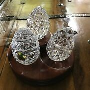 Waterford Crystal Eggs And Stand - Set Of Three Eggs - Mint Condition