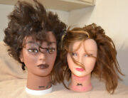 Lot Of 2 Burmax Dionne And Nicki Mannequin Heads Used Pre-owned Some Writing