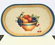 Hand Painted Wood Tray. Bowl Of Fruit Signed By Artist Farmhouse Decor