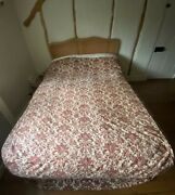 Antique Fabric Bedcover Quilt French Bedchamber Panel 1800s Vintage Period Drama