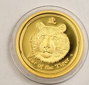 2010 The Year Of The Tiger Proof 1/10 Oz Gold Australia 15 Lunar 2