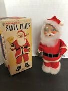 Vintage Mechanical Santa Claus Wind Up Toy Alps Made In Japan Works Rings Bell