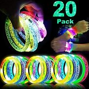 20 Pack Glow Sticks Bracelet Party Supplies In The Dark, Led Light Up Toys Neon