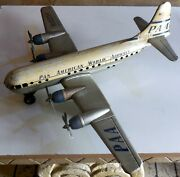 Vintage Tin Toy Airplane Pan American World Airways Clipper Gama Germany 1950s
