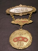 1800and039s Ioof Past Grand De Pin Badge Medal Ribbon Fraternal Odd Fellows Flt Lodge