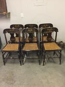 Antique Hitchcock Stenciled Cane Seat Chair Set Of Six Good Condition 1840-1860
