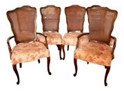 Six Walnut Cane-backed Louis Xv Style Dining Chairs W/ Hickory Chair Slip Covers