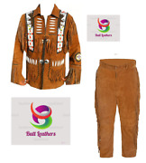 Menand039s Native American Brown Cow Suede Leather Full Suit Long Beads Fringes