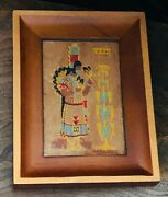 Yucca Wood Painting Corn Dancer Framed Vintage Fred Harvey Collectible Route 66