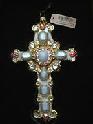 New With Tag In Box Jay Strongwater Glass Cross Ornament Golden Ivory Stones