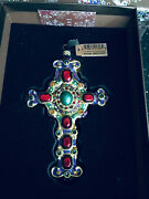 New With Tag In Box Jay Strongwater Glass Cross Ornament Colorful Stones