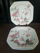 Mikasa Continental Silk Flowers Dinner Plates Discontinued Set Of 4