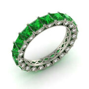 Real 14kt White Gold 4.40 Ct Natural Diamond Emerald Gemstone Rings Size 5.5 6
