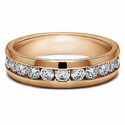 0.50 Ct Diamond Engagement Band Mens Rings Solid 14k Rose Gold Round Brilliant