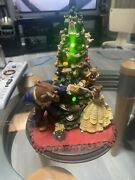 """Rare Vintage Disney Beauty And The Beast Christmas Tree Statue Music And Lights 8"""""""