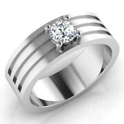 Real 0.41 Ct Diamond Mens Band Solid 14k White Gold Wedding Ring Size 10,11,12,9