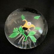 Vintage 1850s Baccarat Glass Paper Weight Pansies Pre-owned Lost Box 53x69mm