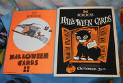 Vintage Original Norcross Greeting Cards Halloween Advertising Signs Cat And Witch
