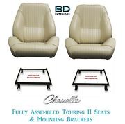 1964 Chevelle Touring Ii Front Bucket Seats Mount Brackets And Rear Seat Cover