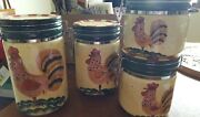 Set Of 4 Style Eyes Baum Bros Red Check Rooster Sealed Canisters 9, 8, 6, 5 In