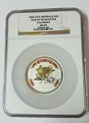 2005 Gilt Australia 8 Lunar Year Of The Rooster Colorized Ms68 5 Oz Silver Coin