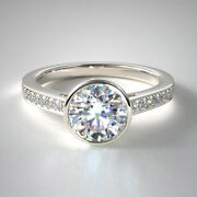 0.87 Ct Real Round Cut Diamond Engagement Ring Solid 950 Platinum Rings Size 5 7