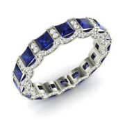 3.88 Ct Real Diamond Blue Sapphire Ring Solid 950 Platinum Eternity Band Size N