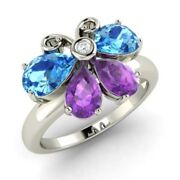 1.90 Ct Real Diamond Topaz And Amethyst Gemstone Ring Solid 950 Platinum Rings 6 7